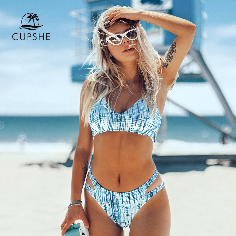 CUPSHE Aqua Tie-Dye Cut Out Bikini Sets Sexy Lace Up Padded Cups Swimsuit Two Pieces Swimwear Women 2020 Beach Bathing Suits
