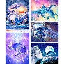 Cartoon Full Drill Daimond Painting Dolphin Animal 5d Diy Diamond Embroidery Seascape Love Cute Cross-stitch Home Decor Gift A48 htc толстовка
