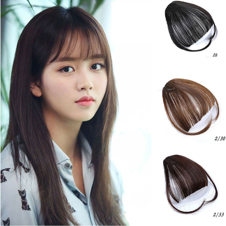 MUMUPI Clip In Hair Bangs Hairpiece Synthetic Fake Bangs Hair Piece Clip In Hair Extensions