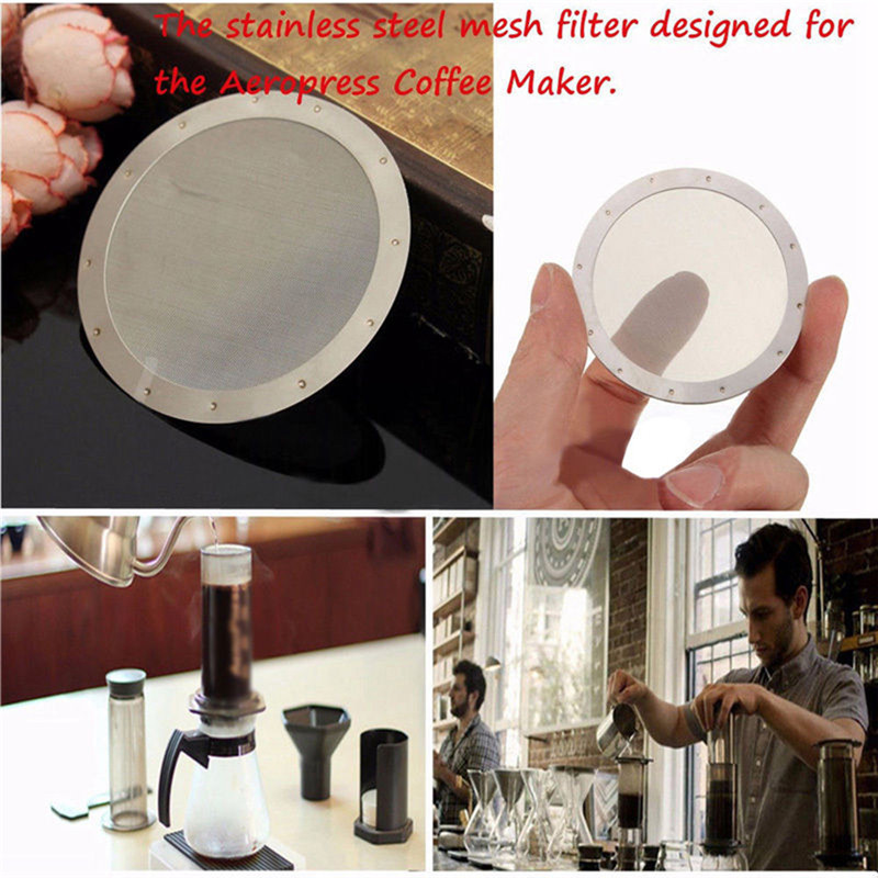 Silver Reusable Fine Metal Coffee Filter Stainless Steel Mesh For AeroPress Coffeemaker Kitchen Accessories