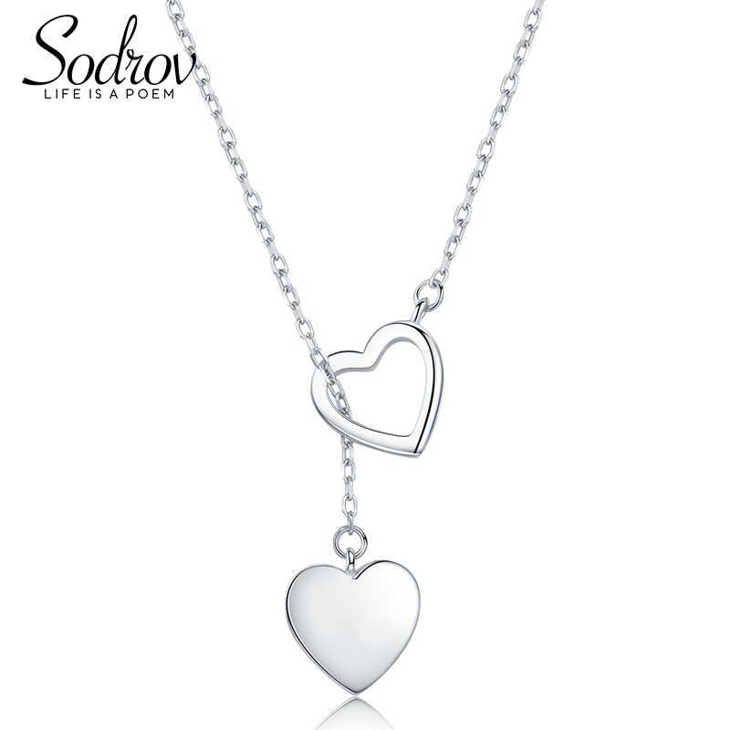 Sodrov Genuine 925 Sterling Silver Double Heart Colar Pingente de Alta Qualidade Jóias HN015