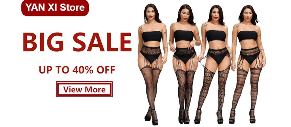 H9e5e865c24b74f818b06381c36092f07c Lencería Sexy Porno erótico para mujer, lencería de talla grande, ropa interior, muñecas, medias sin entrepierna, encaje transparente sólido