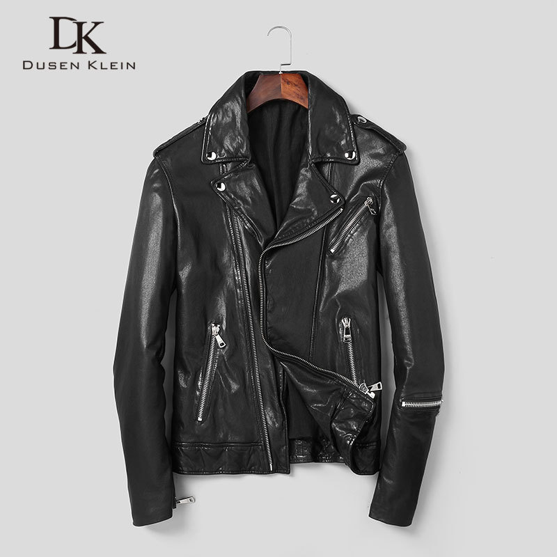 Men Genuine Leather Jacket Real Sheepskin Jackets Casual Short Black Pockets 2020 Autumn New Jacket For Man Washed Leather S1059