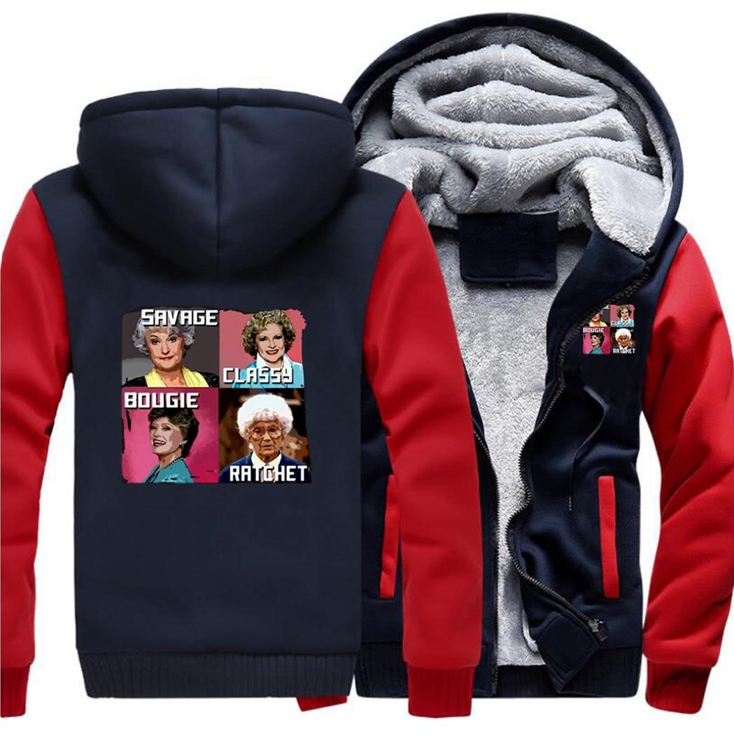 Four Beautiful Lady Savage Classy Raglan Hoodies Street Jackets Top Men Fitted Sweatshirt Winter Warm Printed Outdoor Coat