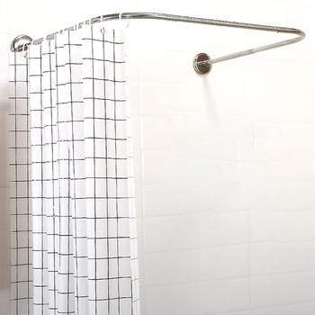 2 typ wysuwany w kształcie litery U karnisz prysznicowy 80-130cm 304 zakrzywiona prowadnica ze stali nierdzewnej Bar wysokiej jakości wyposażenie łazienkowe tanie i dobre opinie Metal STAINLESS STEEL Ekologiczne U shape SKUD56386