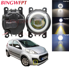 2x High power H11 LED Fog Lamps Angel Eye light with Glass len 12V For Peugeot 107 Hatchback 2005 Up
