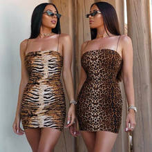 2019 Sexy Lady Vrouwen Mouwloos Leopard Tiger Print Party Cocktail Avond Condoleren Riem Mini Jurk(China)