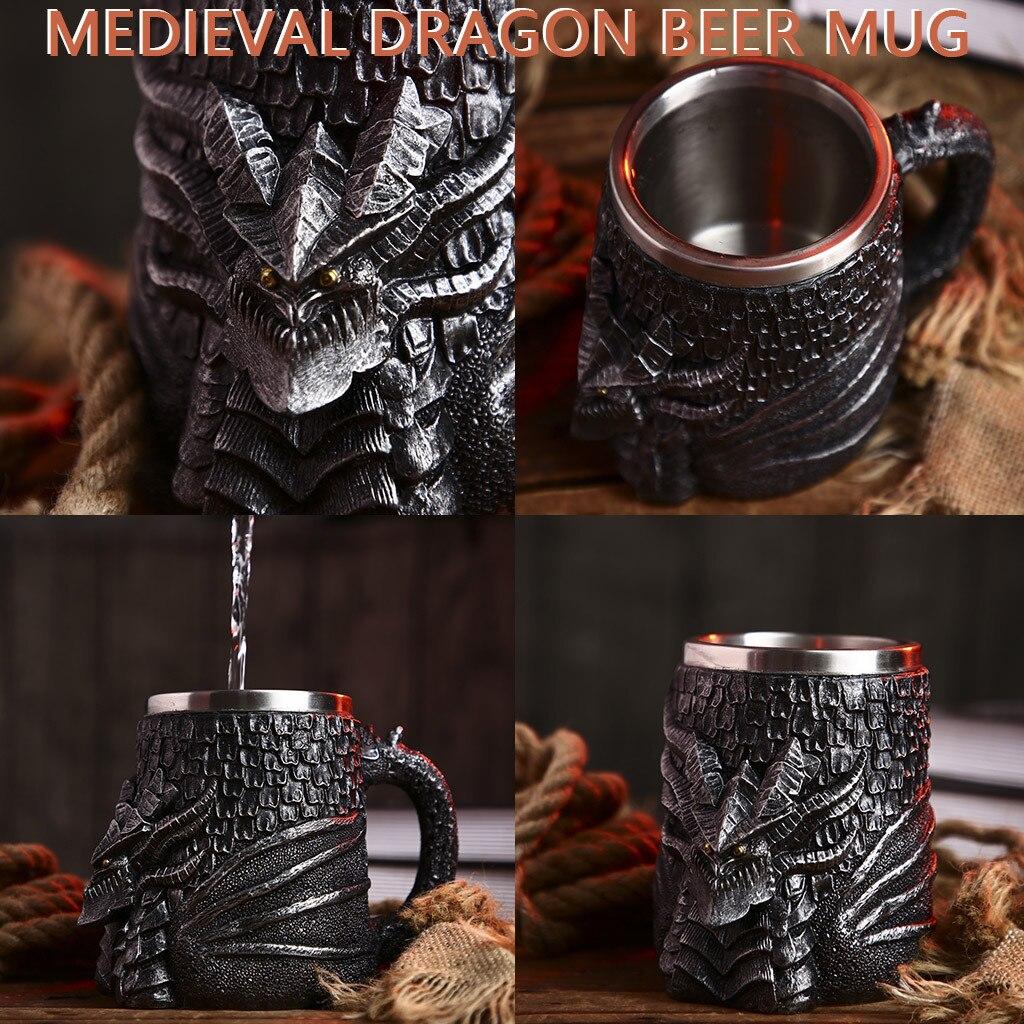 Viking Warrior Skull Mug Tankard Medieval Skull Drinkware Mug for Coffee//Beverage//Juice 17oz. Arola Stainless Steel Double Handle Horn Skull Beer Cup