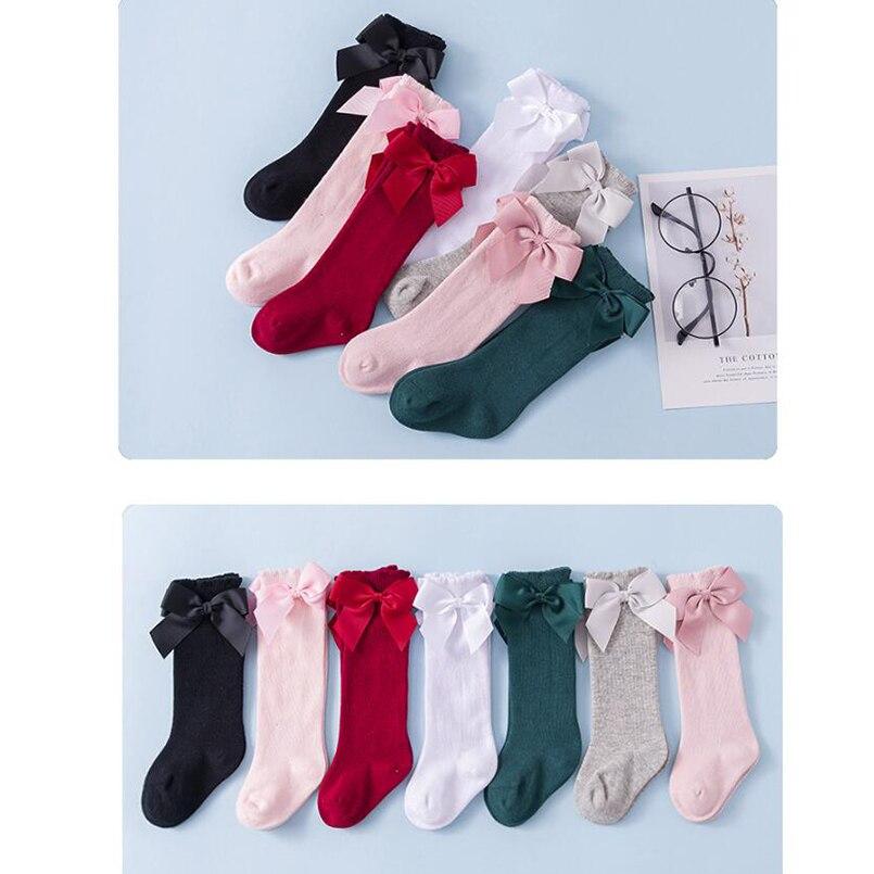 Toddler Socks Baby Girls Red/green/pink Long Socks Cotton Breathable Infant Kids Socks For Girls New Year Booties Socks Children