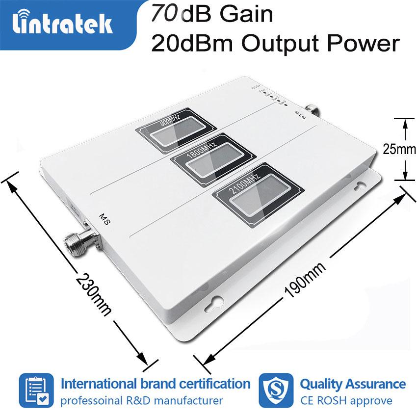 Lintratek Tri Band 850 1800 2100 MHz wzmacniacz sygnału telefonu komórkowego B5/B1/B3 Tri Repeater 2G 3G 4G CDMA WCDMA LTE wzmacniacz DCS # fs