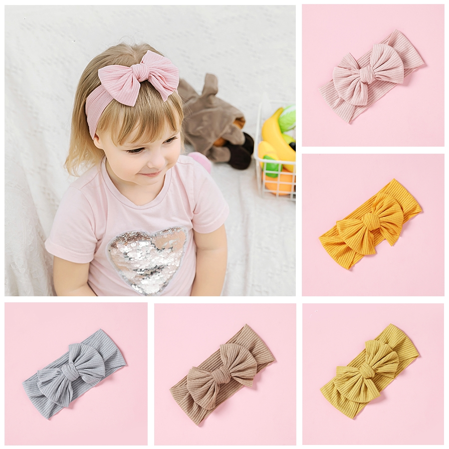 1pcs Cute Bow Knitted Headbands for Girls Stretchy Hair Accessories Fashion Elastic Wide Turban Head Wrap Haarbands