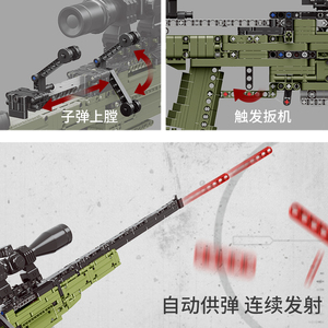 Image 2 - Fit Technic Series Guns shotgun Can Fire Bullets Set AWM Winchester Military Model Building Blocks Toys For Boys Gifts Lepining