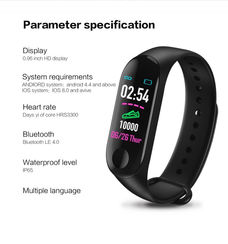 smart Wristband Bracelet Watch Heart Rate Monitor Blood Pressure Fitness Tracker M3 Plus Smart Bluetooth Sports Bracelet