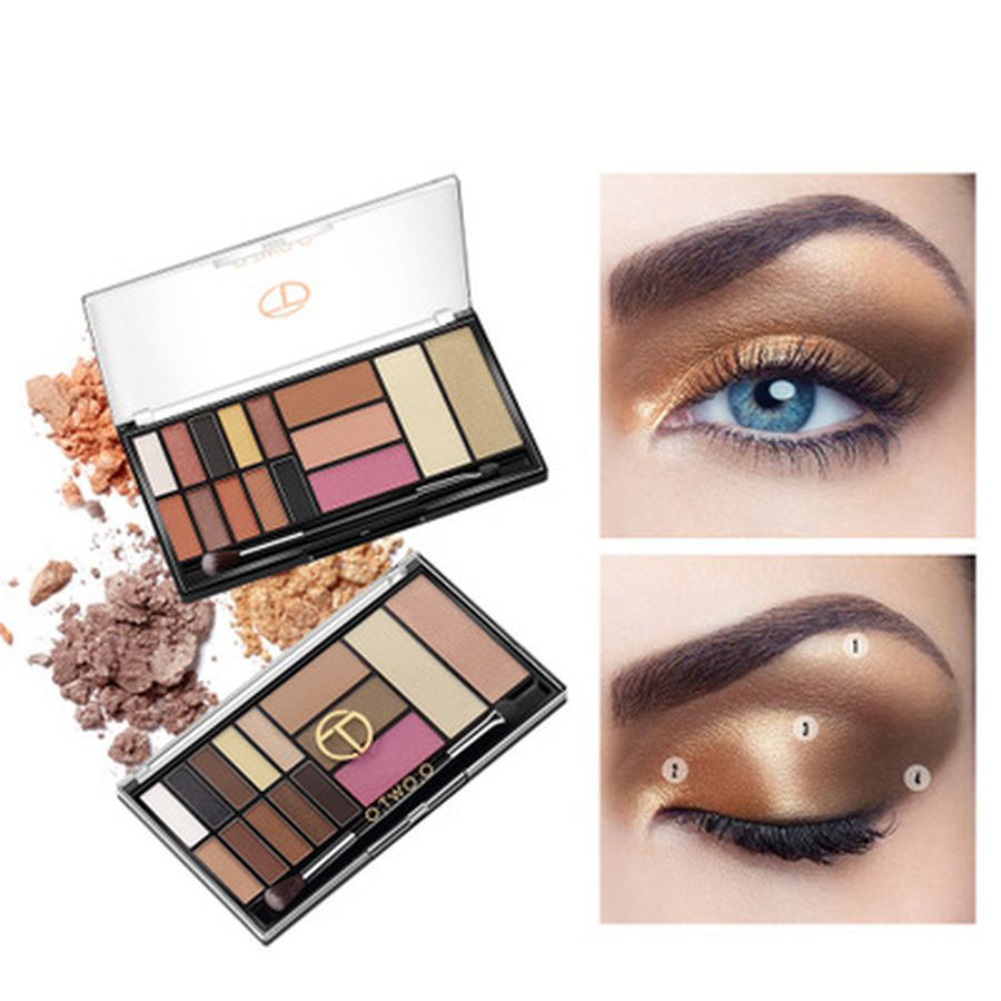 Face Makeup Base Palette Eyeshadow Highlighter Glitter Blush Contour Palette 15 Shades With Brush Shimmer Eye Cosmetics Kit