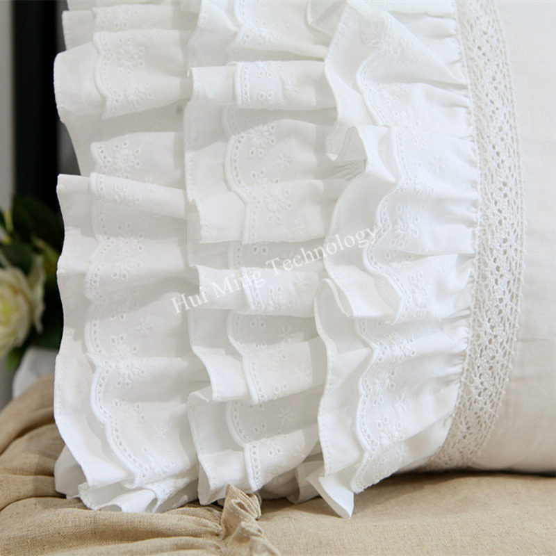 White Embroidered Lace Trim Pillow Case Cover Cotton Sateen Standard queen King