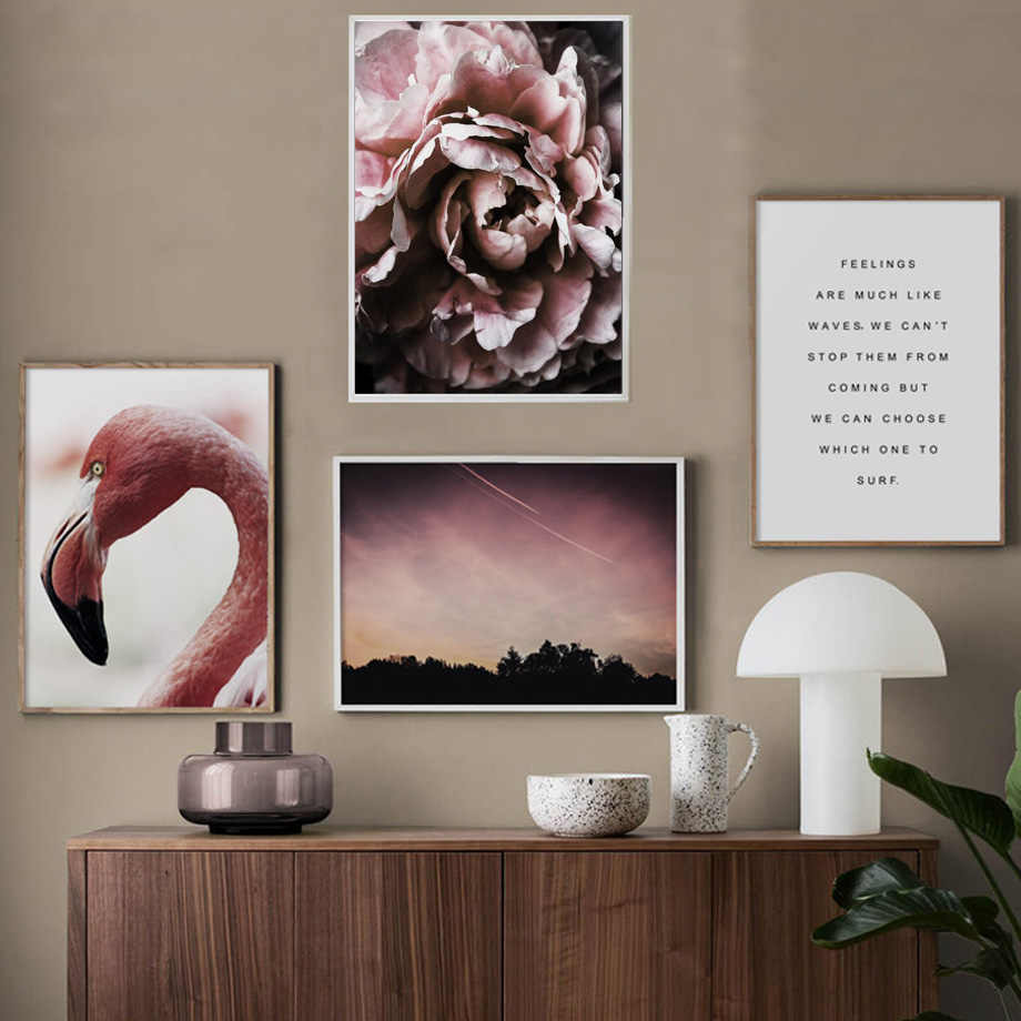 Wall Art Print Poster Nordic Picture Animal Canvas Home Decor Flamingo Peony Flower Forest Quotes Scenery Painting Study Modular