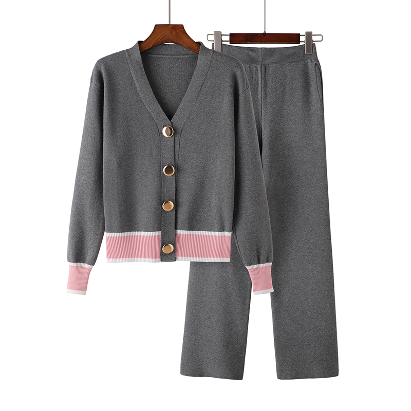 Women Tracksuit Set Elegant Style Cardigan Sweater Sets Knit Long Pants Suits Effortless Chic Two Piece Suit Casual