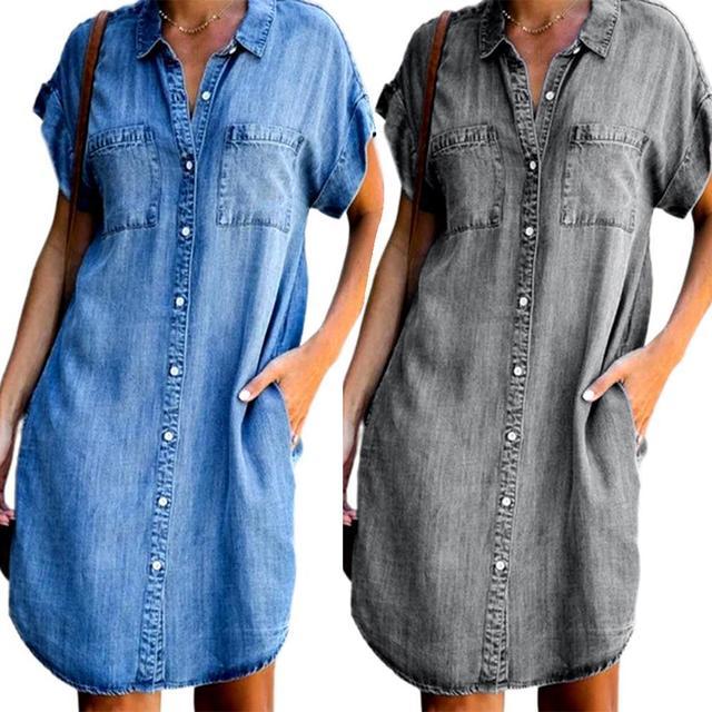 Women's Summer Fashion Solid Turn Down Neck Blue Jeans Denim Shirt Dress Short Sleeve Pockets Single-breasted Women's Jean Dress 1