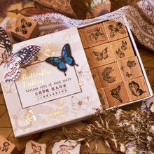 Vintage Butterfly Plant Grass Series Stamp DIY Craft Wooden Rubber Stamps Set for Scrapbooking Stationery School Supplies