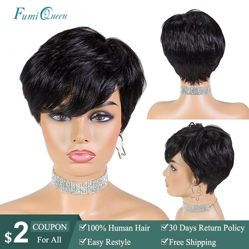 Pixie Cut Straight Short Bob Wigs Natural Black Color Ali FumiQueen Hair Brazilian Remy Human Hair Wig 6 Inch Full Machine Wig