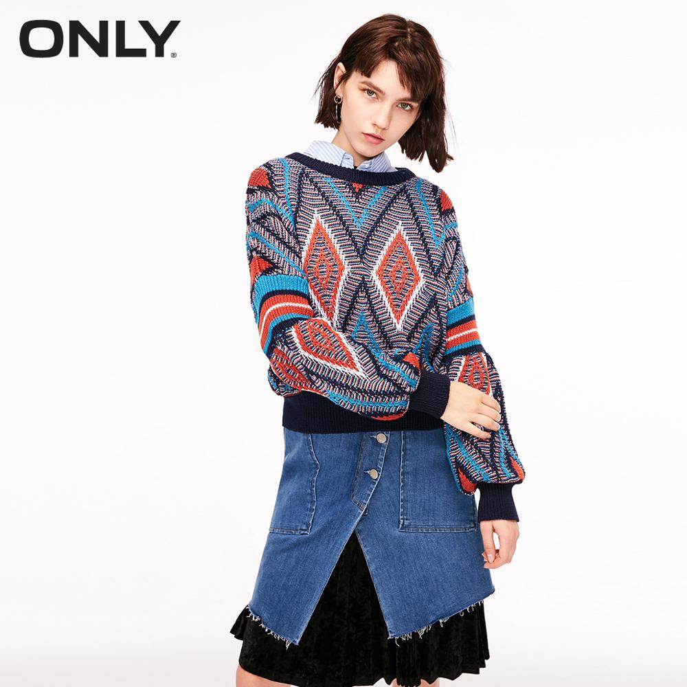 ONLY Women's Contrasting Geometrical Knit Sweater | 119113515