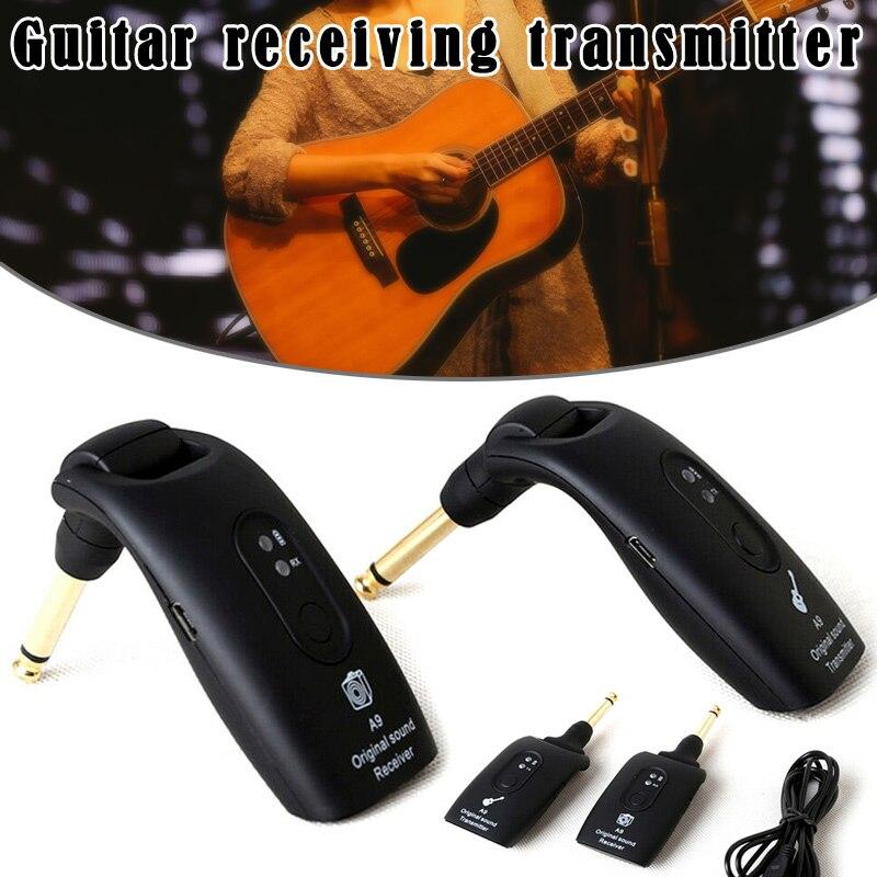 2.4GHz guitare sans fil pince à cravate émetteur récepteur A9 sans fil transmetteur guitare pick-up batterie Rechargeable 30M noir