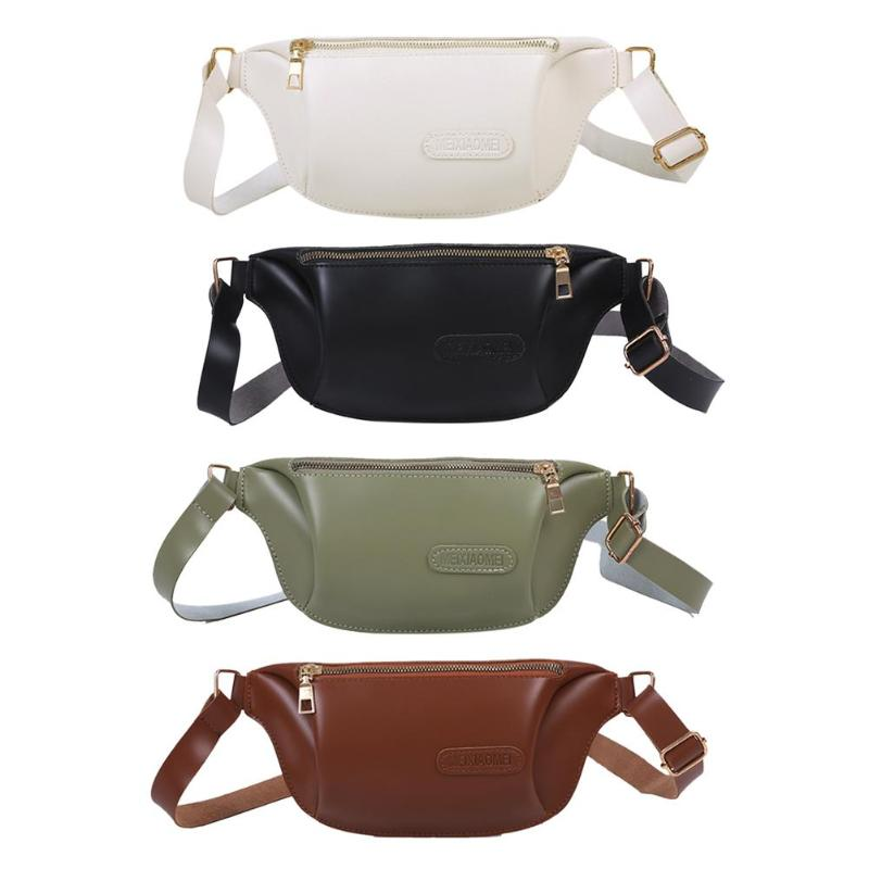 Solid Color Fanny Chest Pack Adjustable Wide Strap PU Leather Waist Pack Pouch Retro Women Shoulder Crossbody Bag