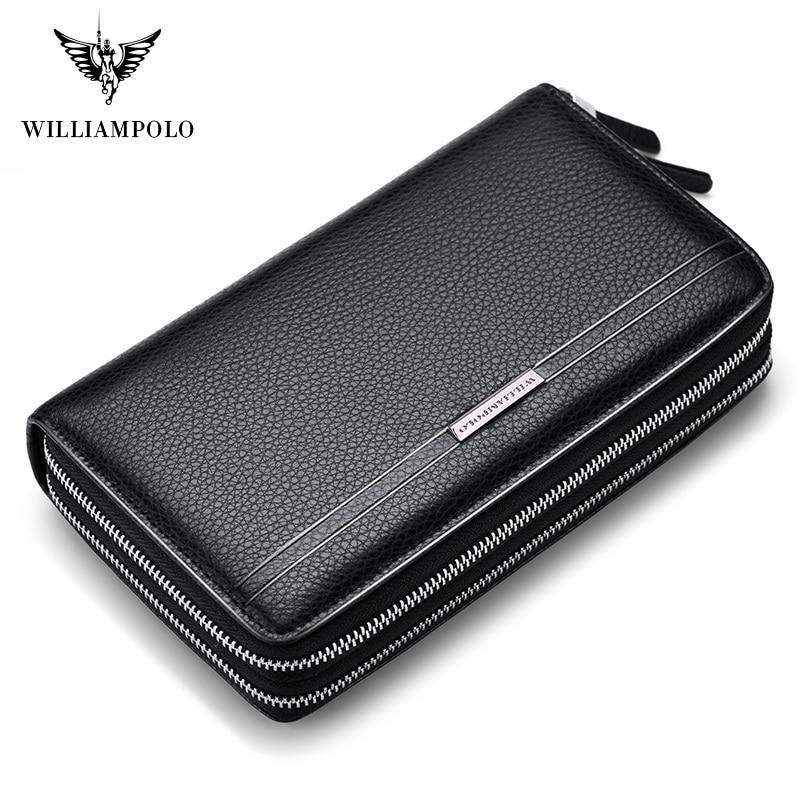 WilliamPolo Luxury Brand Leather Wallets men Long Zipper Coin Purses Tassel Design Clutch Wallets Female Money Bag Credit Card