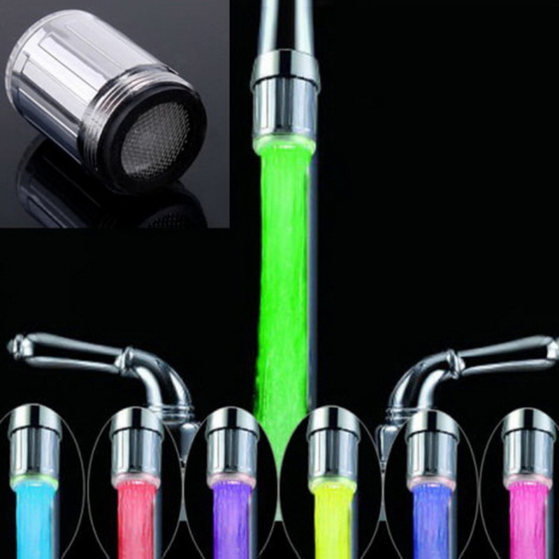 Luminous LED Water Faucet Shower Tap Basin Water Nozzle Bathroom Kitchen Heater Faucets Thermostat Blue 7 Colors