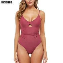 Riseado Neue 2020 Badeanzüge Einteiliges Solide Sexy Bademode V ausschnitt Rot Badeanzüge Frauen Strap Geraffte Beach Wear Badenden