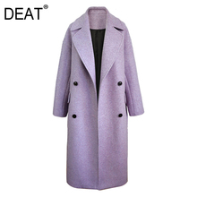 DEAT 2021 Neue Herbst Mode frauen Woolen Mantel Volle Hülse High Street Lila Revers Kragen Feste Lose Wilden Elegante TX254