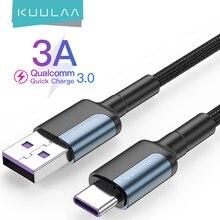 Kuulaa usb tipo c cabo para samsung s10 s9 3a carregamento rápido usb tipo-c carregador cabo de dados para xiaomi mi 10t pro USB-C cabo de cabo