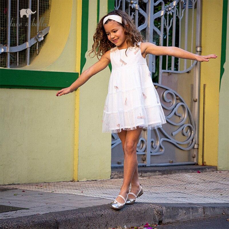 DKS13421 dave bella summer girl's fashion embroidery zipper mesh dress children sweet dress kids infant lolita clothes