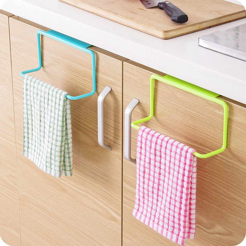 ห้องครัวผ้าเช็ดตัวแขวนผู้ถือตู้ประตูด้านหลังแขวนผ้าเช็ดตัวผู้ถือฟองน้ำเก็บแร็คสำหรับห้องน้ำ F821