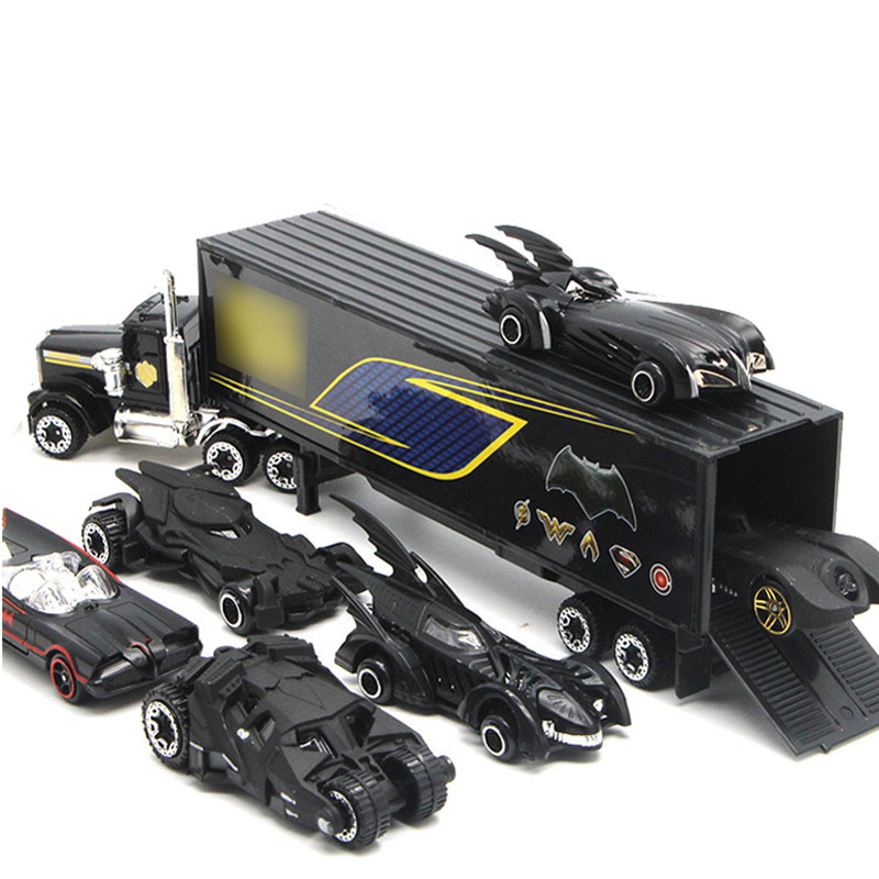 7 pçs conjunto de caminhão transportador brinquedos transportador carro transportador caminhão modelo diecast carro brinquedo crianças presente aniversário para crianças meninos presente