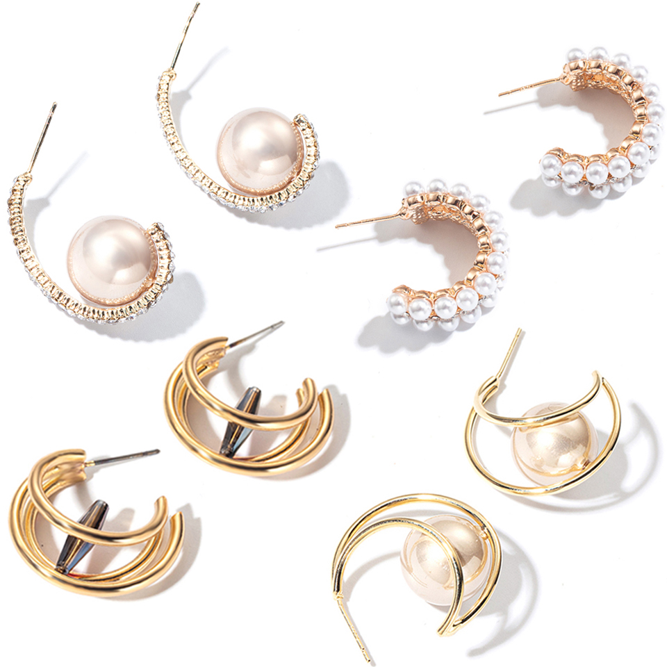 Personality Geometric Imitation Pearl Drop Earrings For Women Popular Gold Color Dangle Earring Statement Korea Fashion Jewelry