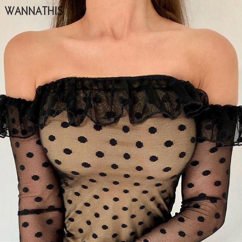 Wannathis Lace Sleeve Dot Print Elegant Women Blouse Ruffles Hem Slash Neck Strapless Off Shoulder Slim Cropped Lady Sexy