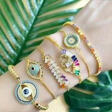 Design Turkish Evil Eye Bracelet for Woman CZ Rainbow Stone Tennis Bracelet 24K Gold Charm Bracelet gold Jewelry цена 2017