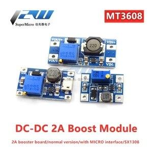 MT3608 DC-DC Adjustable Boost Module 2A Boost Module Boost Board with MICRO USB 2V-24V to 5V 9V 12V 28V for Arduin o