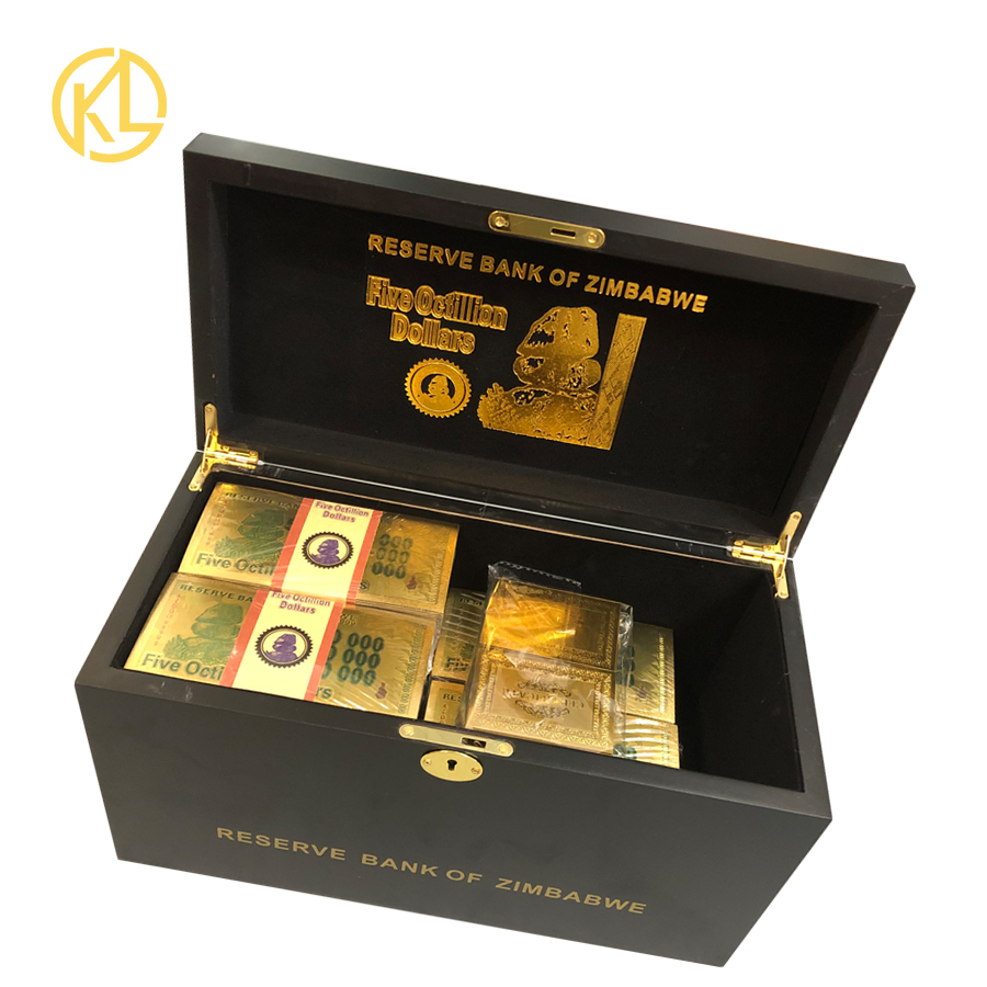 1 10 boxes wholesale Five Octillion Dollars Zimbabwe banknote 24K Gold Banknote with certificates in wooden box-in Gold Banknotes from Home & Garden    1