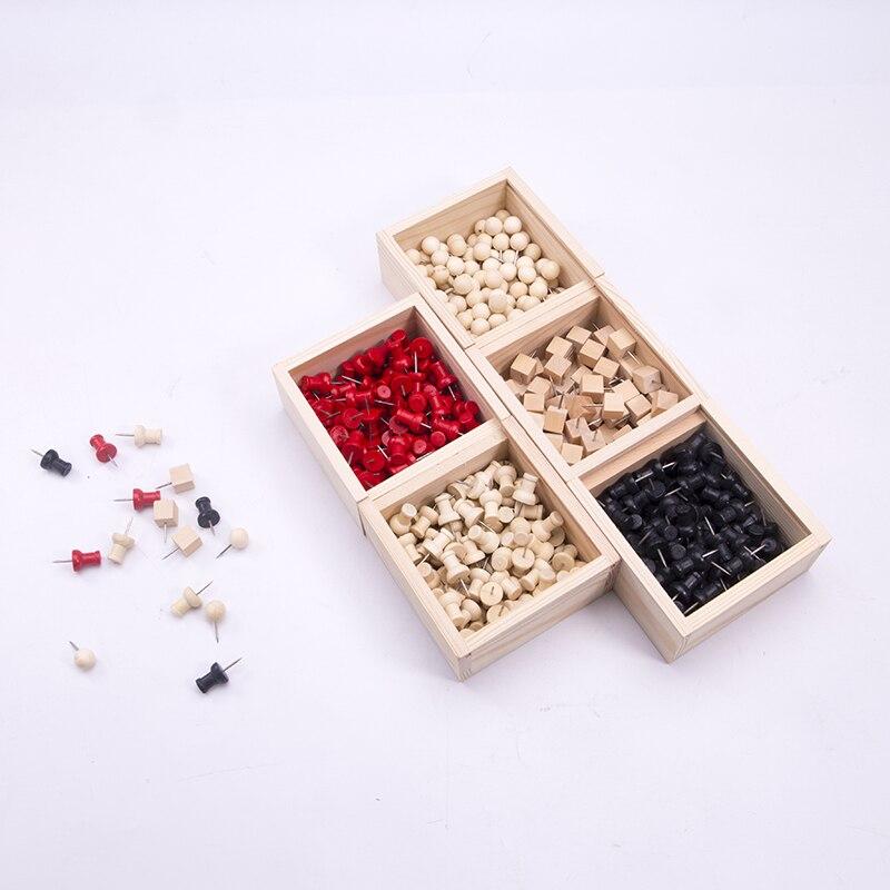 1set Wooden Box Thumbtack Metal Decorative Thumb Tacks Square Wood Circle Push Pins Stationery Office Binding Supplies