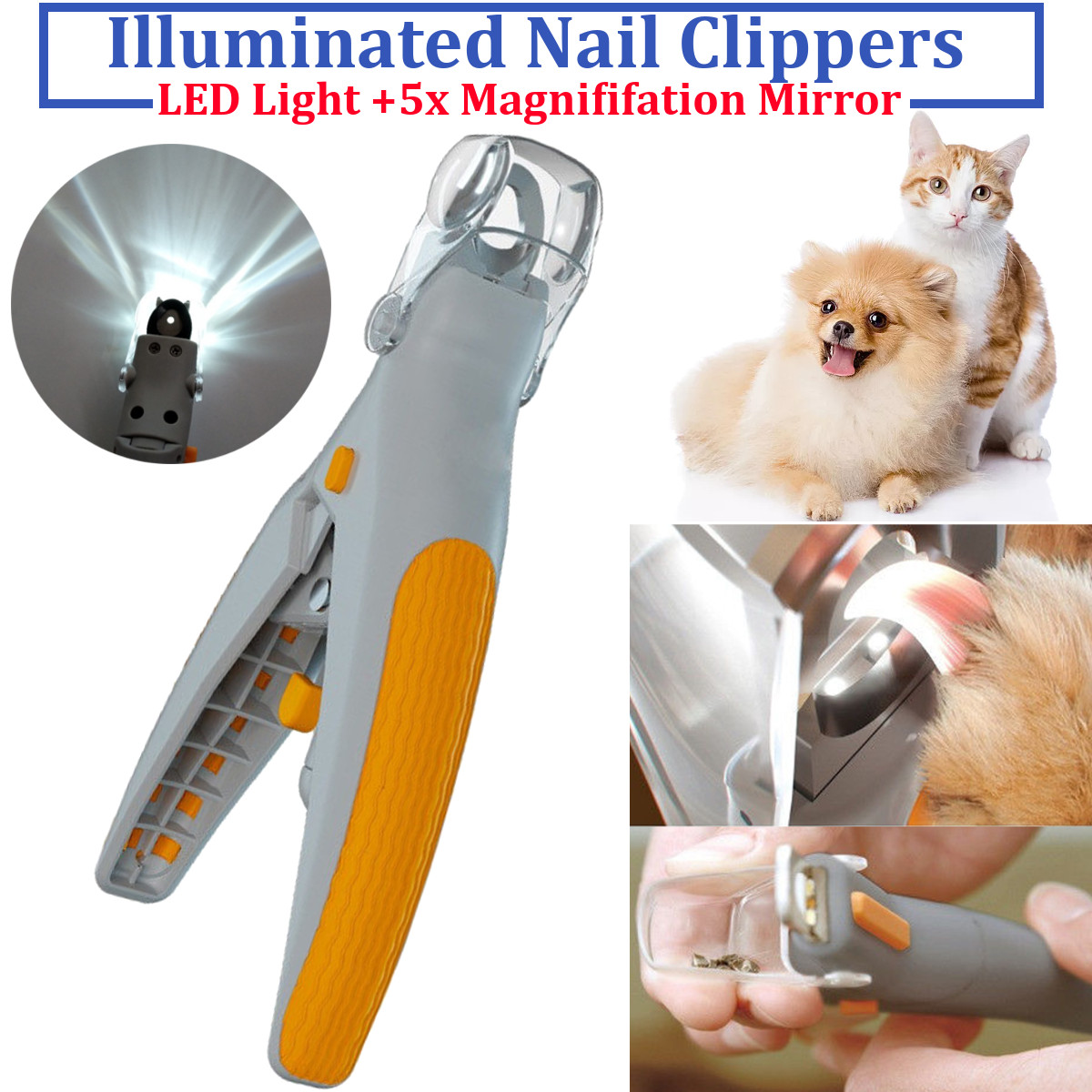 Professional Durable pet dog cutter cat and dog nail clipper cutting machine beauty scissors animal cat locks LED lighting image