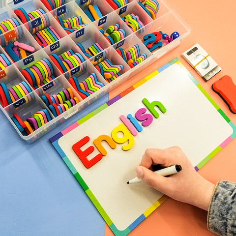 208 104 pces letras de espuma magnetica alfabetos educativos conjunto com placa ima para criancas
