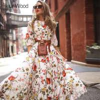 Fleur Legno Boho Del Vestito Stampa Floreale di Estate Delle Donne Del Vestito Lungo Elegante Vestito da Partito Del Vestito Delle Signore Vestito Vestito Estivo Abiti da Festa