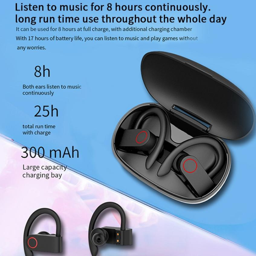 JHO-A9S Bluetooth 5.0 Ear-mounted Wireless TWS Headset HiFi Sound HD Call Dynamic Headphone Auto Connection Ear Hanging Earphone (18)