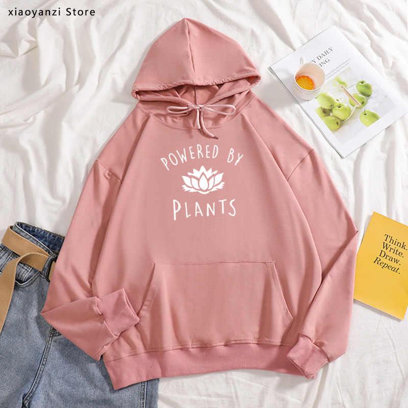 Women Sweatshirt Vegan Powered By Plants Print Girl Hoodie Autumn Pullover