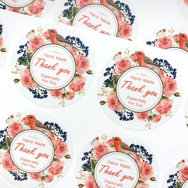 60pcs/lot Kawaii Flower Transparent Thank You Sticker For Seal Label Scrapbooking Decoration Sticker Stationery Sticker