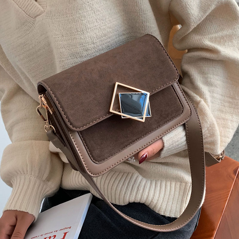 Contrast Color Scrub Leather Crossbody Bags For Women 2020 Small Shoulder Messenger Bag Lady Designer Luxury Lock Handbags