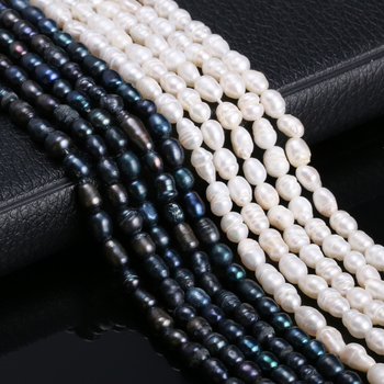 Natural Freshwater Cultured Pearls Beads Rice Shape 100% for Jewelry Making DIY Strand 13 Inches Size 5-6mm