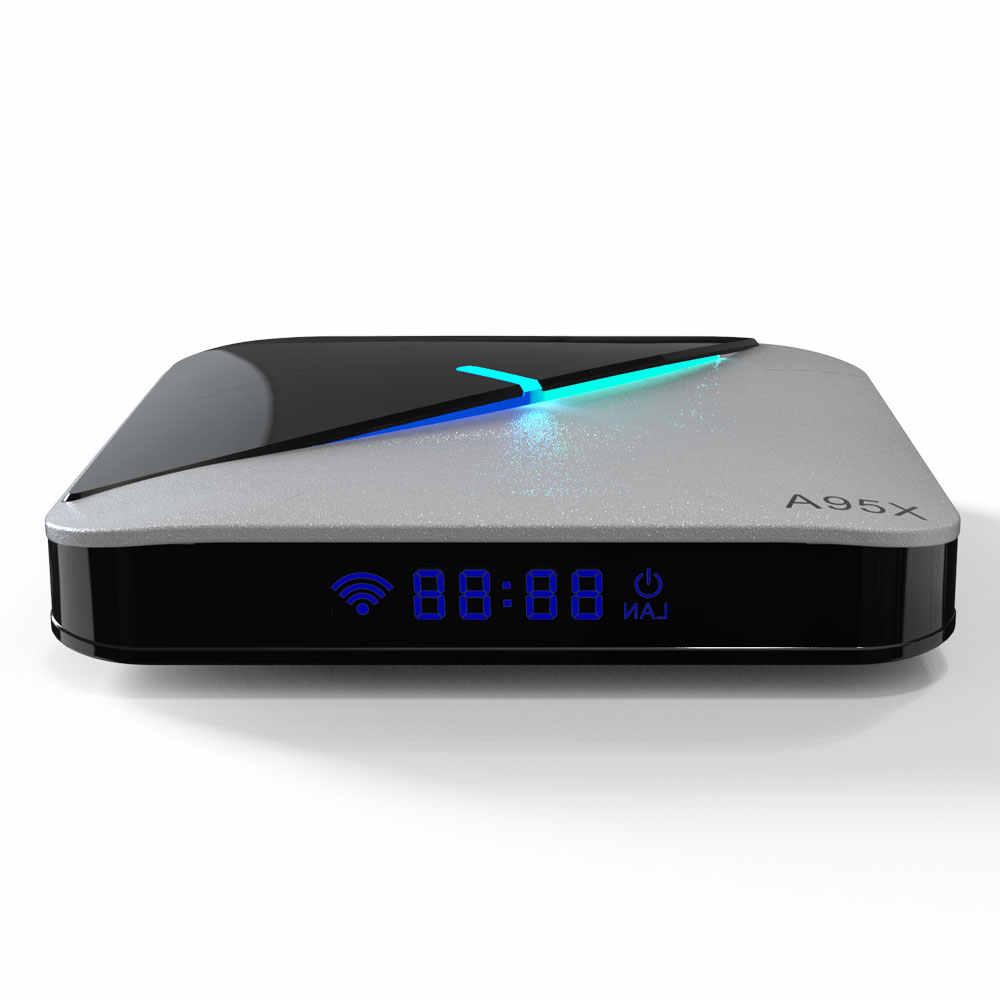 A95X F3 Air Smart Android TV Box S905X3 2GB RAM 16GB ROM 5G Wi Fi Bluetooth 4.0 Android 9.0 4K 8K Set Top Box dengan 6 Lampu RGB